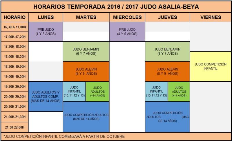 horario temporada 2016 2017